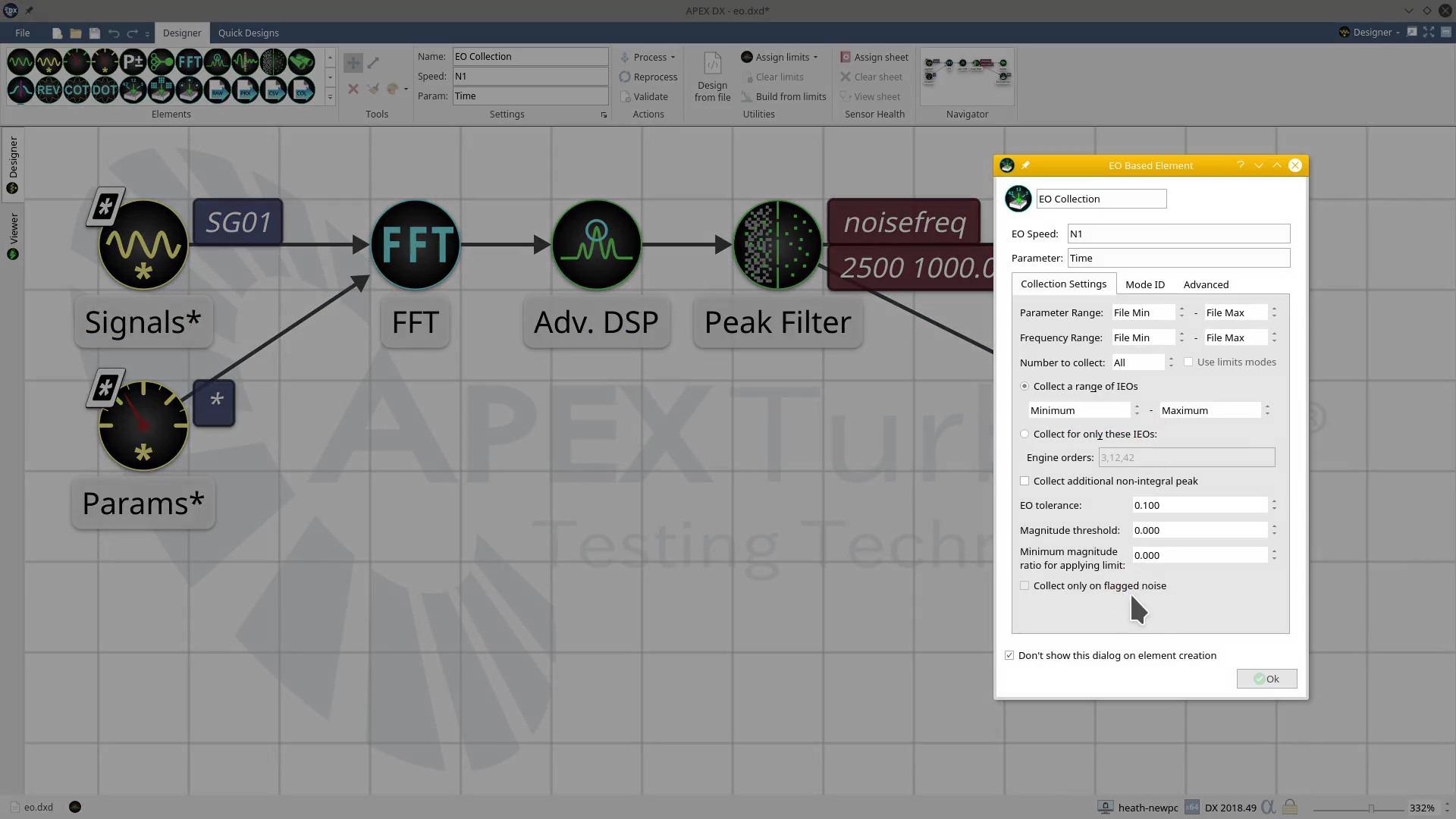 APEX DX-EO Collection-Element Setup