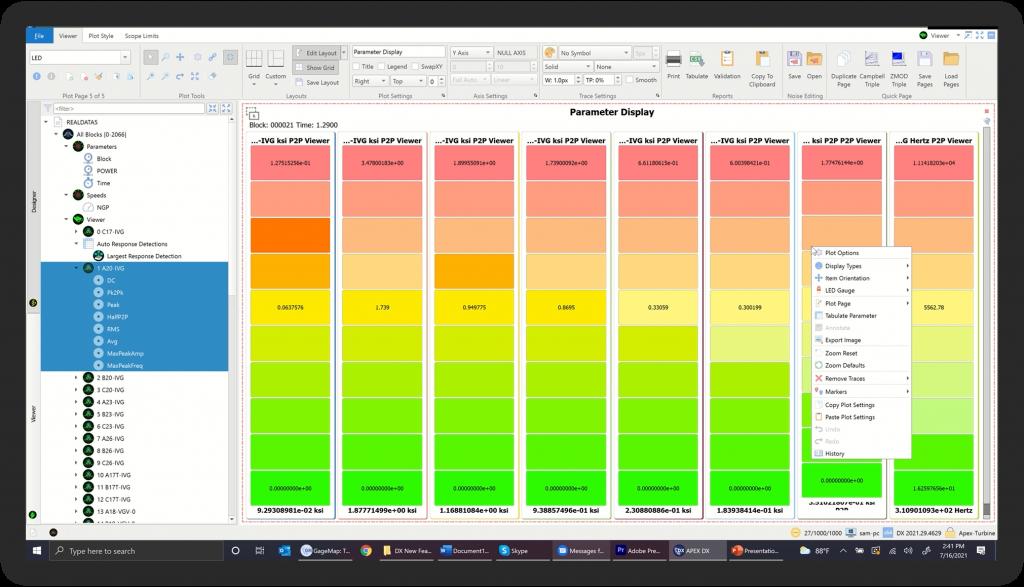 DX Plot Parameter Display Plot-LED