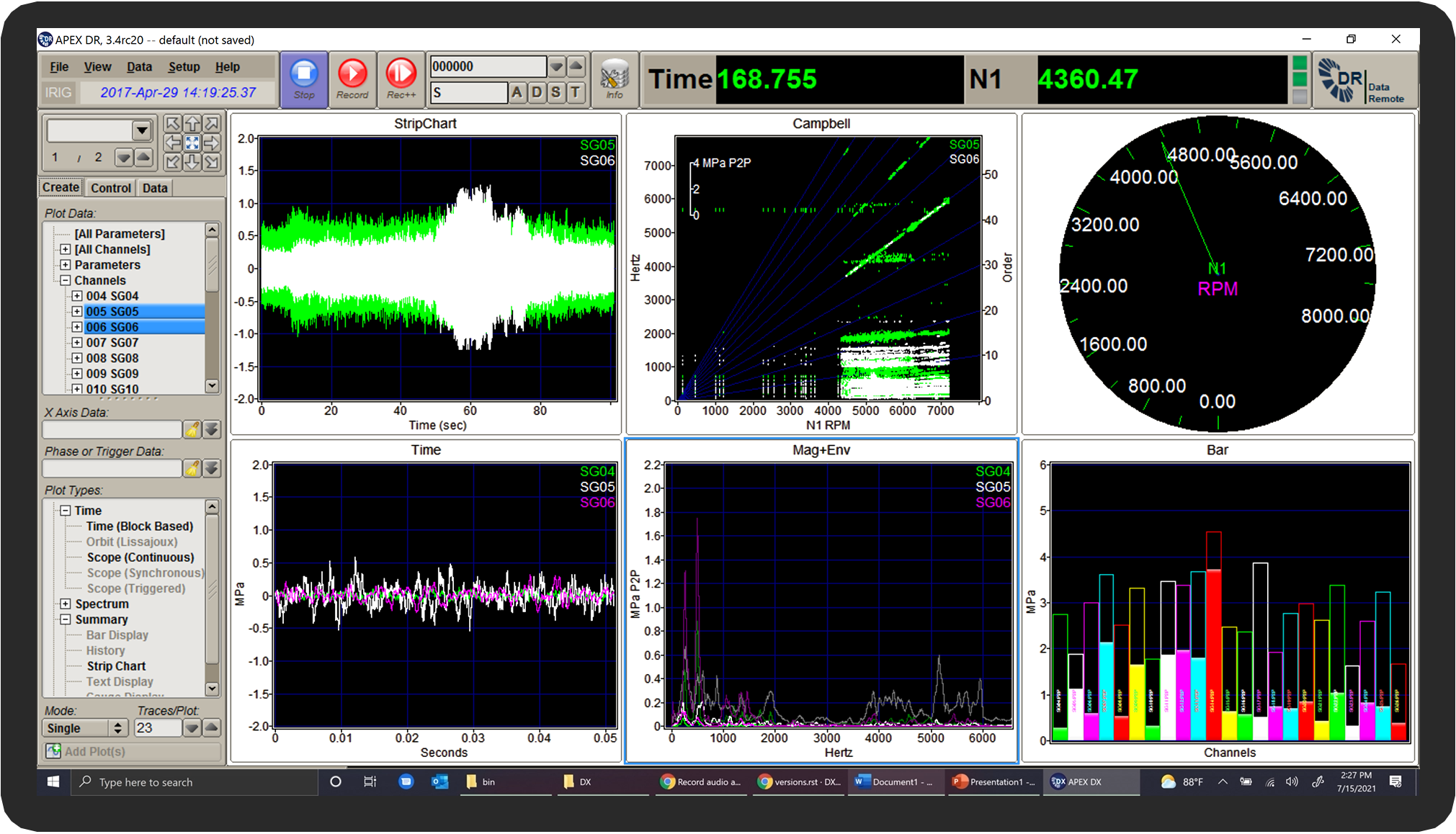 APEX DR Online Monitoring Software-Multiple Engineering Plots